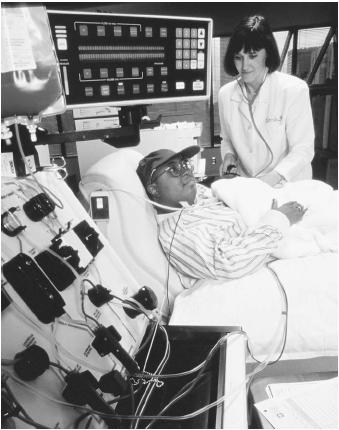 A young patient receiving a chemotherapy treatment.