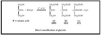 Figure 4. Direct esterification of glycerine.