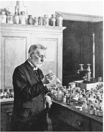"German chemist and bacteriologist Paul Ehrlich, corecipient, with Ilya Ilyich Mechnikov, of the 1908 Nobel Prize in physiology or medicine, ""in recognition of their work on immunity."""