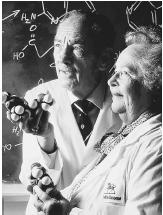 "American chemist Gertrude B. Elion (right) with her colleague George H. Hitchings, recipients, with Sir James W. Black, of the 1988 Nobel Prize in physiology or medicine, ""for their discoveries of important principles for drug treatment."""