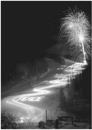 Torchlight parade of skiers, Winter Park, Colorado, December 24, 1995.