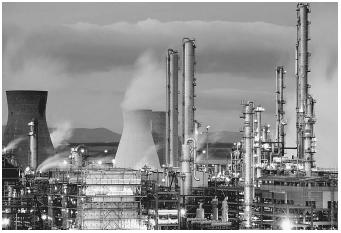 Most organic compounds such as those manufactured at this petrochemical plant, are derived from petroleum.