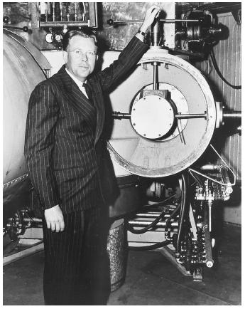 "American physicist Ernest Orlando Lawrence, recipient of the 1939 Nobel Prize in physics, ""for the invention and development of the cyclotron and for results obtained with it, especially with regard to artificial radioactive elements."""