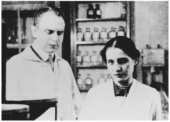 Austrian physicist Lise Meitner standing with Otto Hahn
