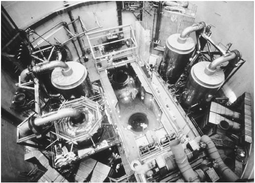 The interior of the containment building at the Trojan Nuclear Plant near Rainier, Oregon. The splitting, or fission, of atoms is a source of energy.