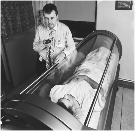 A patient is undergoing hyperbaric oxygen therapy.