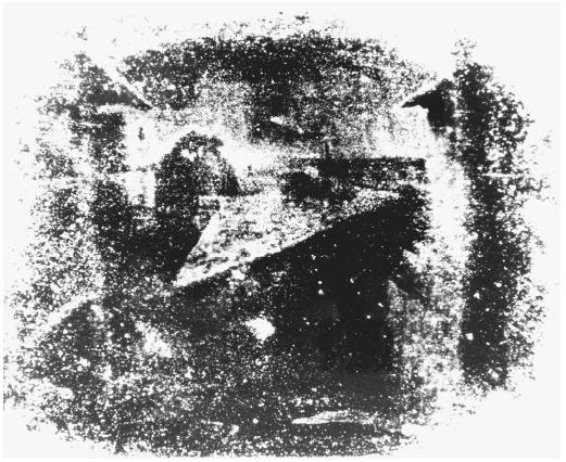 The first known photograph, made in 1826. It shows the courtyard outside the room of Joseph-Nicéphore Niepce.