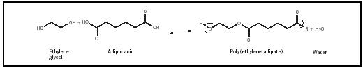 Figure 2. Wallace Carothers attempted to form polymers from the reaction of ethylene glycol (a diol) and apidic acid (an aliphatic diacid).
