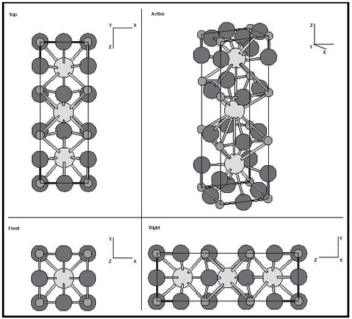 Figure 1. The crystal structure of YBa2Cu3O7-y. Redrawn from Naval Research Laboratory. Available from http://cst-www.nrl.navy.mil/lattice/struk.picts/.