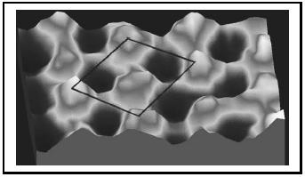 Figure 2. STM image of S atoms on a Rh surface (15 Å × 7 Å × 1.5 Å).