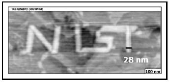 "Figure 7. Nanowriting of a mercaptbenzoic acid layer into a background layer of dodecanethiol using nanografting. The height contrast is inverted to make the ""nist"" appear bright. The thickness of the ""t"" is only 28 nm. (Courtesy of Dr. Jayne Garno, NIST)."