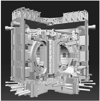 A cutaway of the ITER tokamak device. A goal of the ITER project is to create sustainable energy by means of fusion.