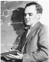 "American chemist Robert Woodward, recipient of the 1965 Nobel Prize in chemistry, ""for his outstanding achievements in the art of organic synthesis."""